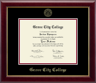 Grove City College Diploma Frame - Gold Embossed Diploma Frame in Gallery