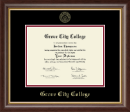 Grove City College Diploma Frame - Gold Embossed Diploma Frame in Prescott