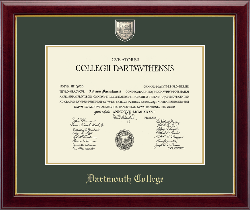 dartmouth college masterpiece medallion diploma frame in gallery item 204911 from dartmouth co op