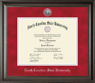 North Carolina State University Diploma Frame - Silver Engraved Medallion Diploma Frame in Acadia