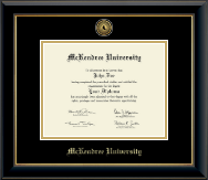 McKendree University Diploma Frame - Gold Engraved Medallion Diploma Frame in Onyx Gold
