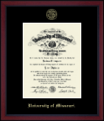 University of Missouri Columbia Diploma Frame - Gold Embossed Achievement Edition Diploma Frame in Academy