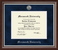 Monmouth University Diploma Frame - Silver Engraved Diploma Frame in Devonshire