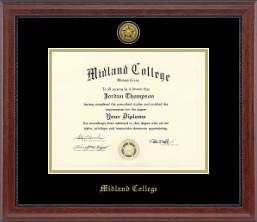 Midland College Diploma Frame - Gold Engraved Diploma Frame in Signature