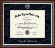 Dallas Baptist University Diploma Frame - Silver Engraved Medallion Diploma Frame in Devonshire