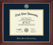 Utah State University Diploma Frame - Masterpiece Medallion Diploma Frame in Kensington Gold