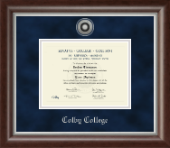 Colby College Diploma Frame - Silver Engraved Diploma Frame in Devonshire