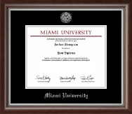Miami University Diploma Frame - Silver Engraved Medallion Diploma Frame in Devonshire
