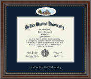 Dallas Baptist University Diploma Frame - Campus Cameo Diploma Frame in Chateau