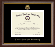 Kansas Wesleyan University Diploma Frame - Gold Engraved Medallion Diploma Frame in Hampshire
