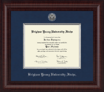 Brigham Young University Idaho Diploma Frame - Presidential Silver Engraved Diploma Frame in Premier