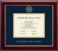 Northfield Mount Hermon School Diploma Frame - Gold Embossed Diploma Frame in Gallery