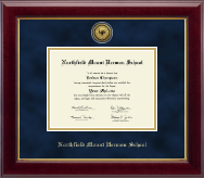 Northfield Mount Hermon School Diploma Frame - Gold Engraved Medallion Diploma Frame in Gallery