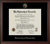University of Louisville Diploma Frame - Gold Embossed Diploma Frame in Studio