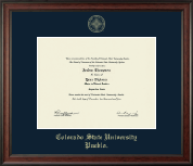 Colorado State University Pueblo Diploma Frame - Gold Embossed Diploma Frame in Studio