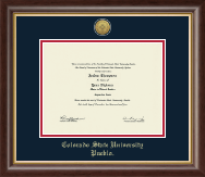 Colorado State University Pueblo Diploma Frame - Gold Engraved Medallion Diploma Frame in Hampshire