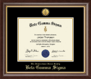 Beta Gamma Sigma Honor Society Certificate Frame - Gold Engraved Medallion Certificate Frame in Hampshire