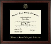 Western State College of Colorado Diploma Frame - Gold Embossed Diploma Frame in Studio