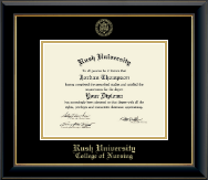 Rush University Diploma Frame - Gold Embossed Diploma Frame in Onyx Gold