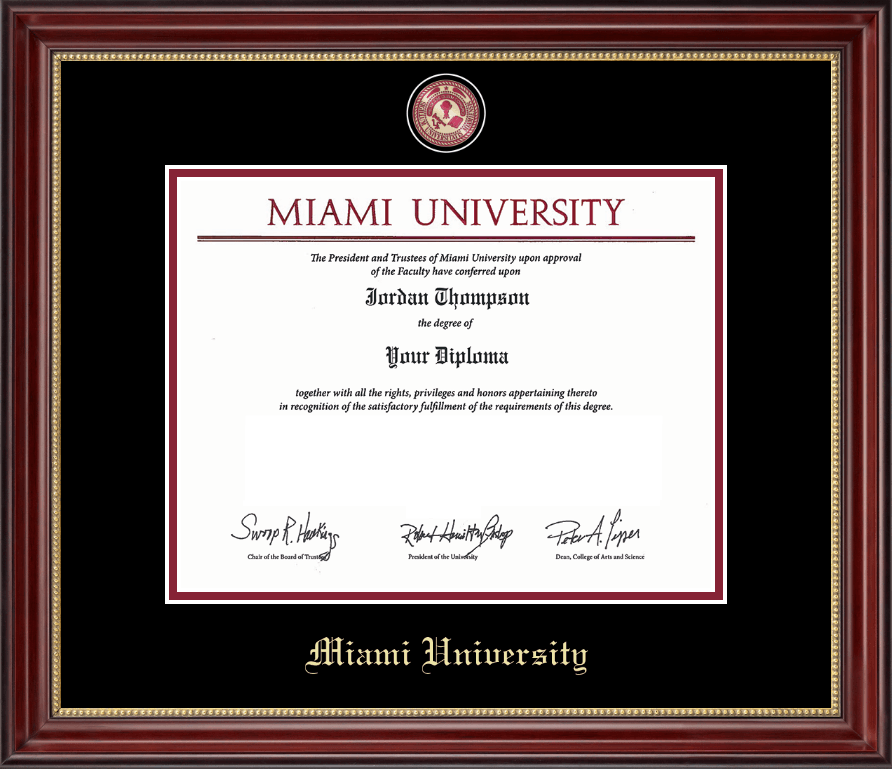Miami University Brass Masterpiece Medallion Diploma Frame In Kensington Gold