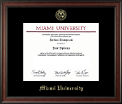 Miami University Diploma Frame - Gold Embossed Diploma Frame in Studio
