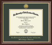 The University of North Carolina at Charlotte Diploma Frame - Gold Engraved Medallion Diploma Frame in Hampshire