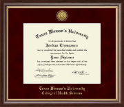 Texas Woman's University Diploma Frame - Gold Engraved Medallion Diploma Frame in Hampshire