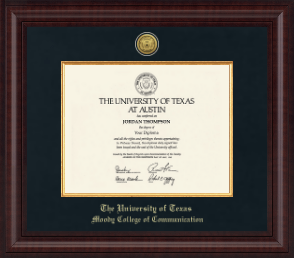 the university of texas at austin moody college of communication  the university of texas at austin diploma frame presidential gold engraved diploma frame in premier