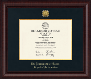 the university of texas at austin school of information  the university of texas at austin diploma frame presidential gold engraved diploma frame in premier