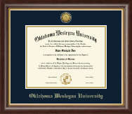 Oklahoma Wesleyan University Diploma Frame - Gold Engraved Medallion Diploma Frame in Hampshire