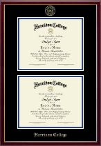 Harrison College Diploma Frame - Gold Embossed Double Diploma Frame in Galleria