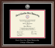 North Carolina State University Diploma Frame - Silver Engraved Medallion Diploma Frame in Devonshire