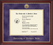 University of Northern Iowa Diploma Frame - Gold Engraved Medallion Diploma Frame in Kensington Gold