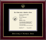University of Northern Iowa Diploma Frame - Gold Embossed Diploma Frame in Gallery
