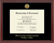 University of Cincinnati Diploma Frame - Gold Engraved Medallion Diploma Frame in Signature