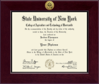 Morrisville State College Diploma Frame - Century Gold Engraved Diploma Frame in Cordova