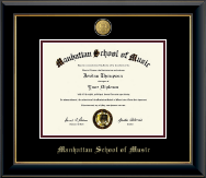 Manhattan School of Music Diploma Frame - 23K Medallion Diploma Frame in Onyx Gold