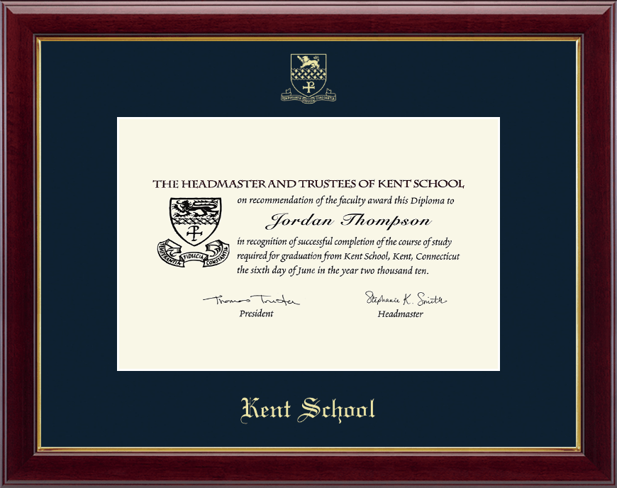 Kent School In Connecticut Gold Embossed Diploma Frame In