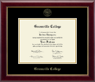 Greenville College Diploma Frame - Gold Embossed Diploma Frame in Gallery