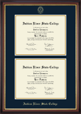Indian River State College Diploma Frame - Double Diploma Frame in Regency Gold