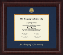 St. Gregory's University Diploma Frame - Presidential Gold Engraved Diploma Frame in Premier