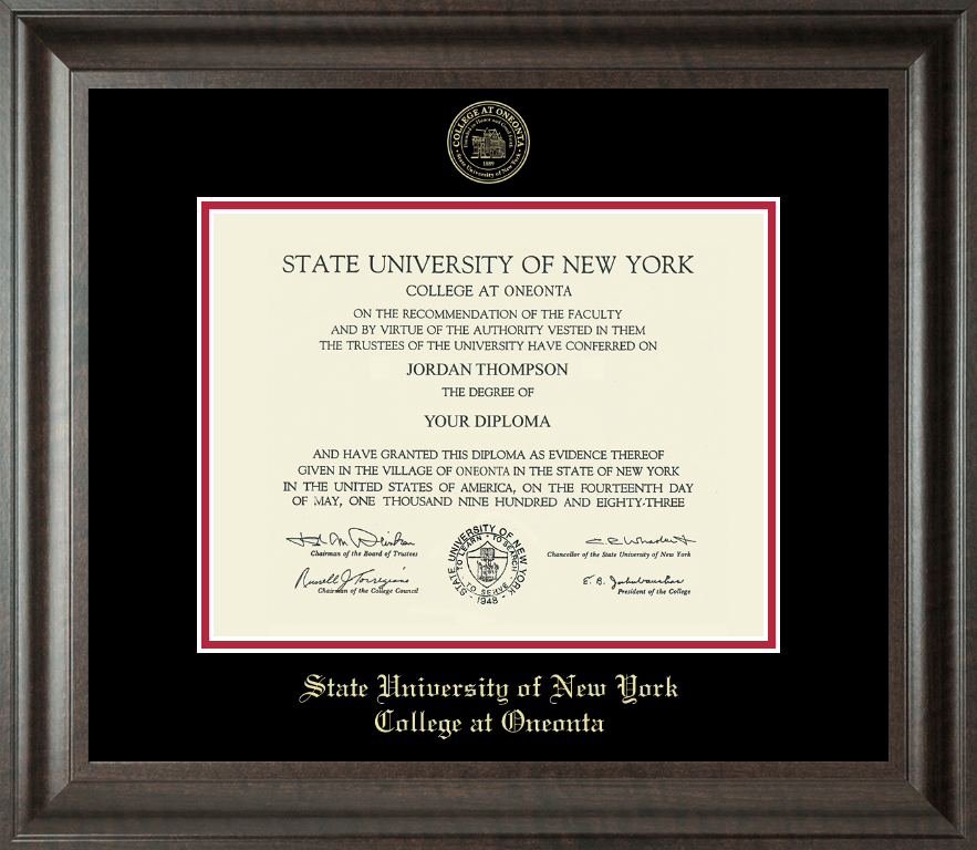 State University of New York - College at Oneonta Gold Embossed ...