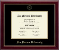 Des Moines University Diploma Frame - Gold Embossed Diploma Frame in Gallery
