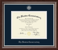 The Boston Conservatory Diploma Frame - Silver Embossed Diploma Frame in Devonshire