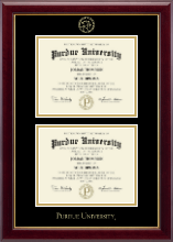 Purdue University Diploma Frame - Double Diploma Embossed Frame in Gallery