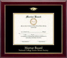 Mortar Board National College Senior Honor Society Certificate Frame - Gold Embossed Certificate Frame in Gallery