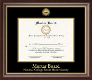 Mortar Board National College Senior Honor Society Certificate Frame - Gold Engraved Medallion Certificate Frame in Hampshire