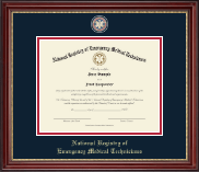 National Registry of Emergency Medical Technicians Certificate Frame - Masterpiece Medallion Certificate Frame in Kensington Gold
