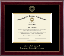 National Registry of Emergency Medical Technicians Certificate Frame - Gold Embossed Certificate Frame in Gallery