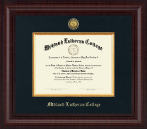 Midland Lutheran College Diploma Frame - Presidential Gold Engraved Diploma Frame in Premier